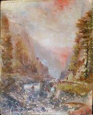 Georges Cordingley (1873-1939), petit paysage gorges sauvages, huile sur panneau