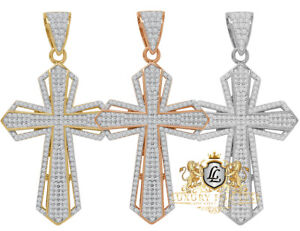 14k Gold On Real Sterling Silver Jesus Cross Custom  Pendent Charm 2.25'' Unisex