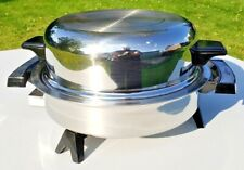 """Lifetime 11"""" Domed Stainless Steel Electric Skillet Frying Pan West Bend Company"""
