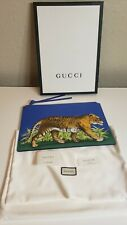 Gucci Bengal Tiger Clutch in Blue Leather with box