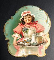 Hawley & Hoops Cocoa Die Cut Cardstock Sign Cute Girl C 1900