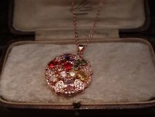 Rose Gold Round Pendant Green,Purple, Pink & Red Crystal Pendant Necklace Chain