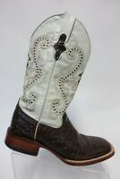 FERRINI Bass-Print Brown/White Sz 7 D Men Square-toe Leather owboy Boots