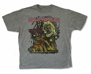 Iron Maiden Number of the Beast Mens Heather Grey T Shirt New Official Merch