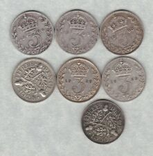 More details for seven key date silver three pence coins 1903 to 1930 in fine or better condition
