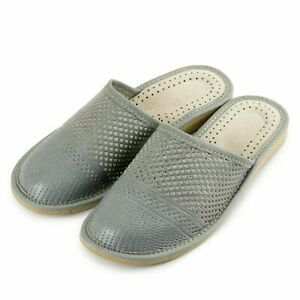 Womens leather slippers sandals Ladies Size 4 5 6 7 8 9 10 Natural grey