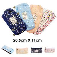 1x Girl Floral Canvas Pencil Pen Case Cosmetic Makeup Bag Storage Pouch Purse UK