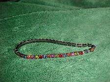 Rhinestones Stretch Bracelet Vintage! Blue/Red/Green/Orange/Pin k
