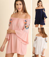UMGEE Off Shoulder Tunic Top Cover Up Dress Long Sleeve Embroidered Boho Flowy