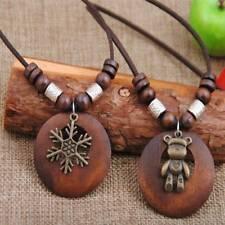 Long Pendant Necklace Wood Geometric Leaf Pendant Handmade Sweater Accessories