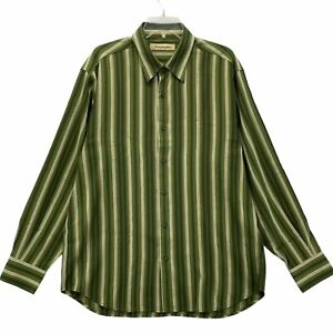 Tommy Bahama Men's Long Sleeve Button Front Casual Dress Shirt Size L Large Silk