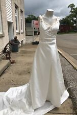 Alfred Angelo White Cream Poly Satin Embroider Floral Daisy Sequin Wedding Dress