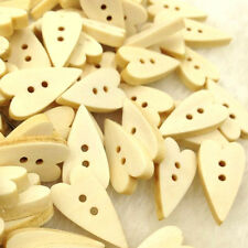 New 10/50/100pcs Love Heart Wood Buttons 2Holes Sewing Crafts WB95