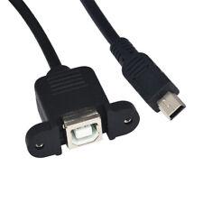 USB Type B USB-B Female Panel Mount to Mini USB Plug Male Adapter cable