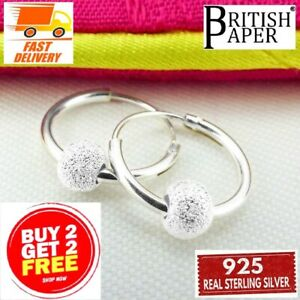 925 STERLING SILVER HOOP EARRINGS WITH BALL BEADS SOLID CLIP NOSE SMALL RING NEW
