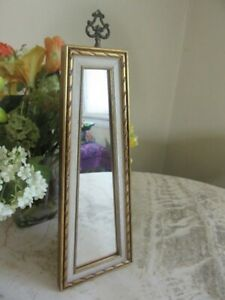 Vintage Retro Regency 1960's wall accent mirror. Gold, white