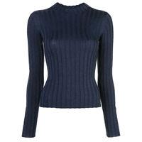 Vince Womens Size L Blue Ribbed Mock Neck Wool Blend Pullover Sweater  MSR $265