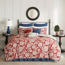 RED FLORAL 9pc Queen Comforter : FRENCH COUNTRY STRIPE BLUE COTTON REVERSIBLE