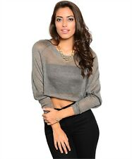 New Grey Gorgeous Chic Casual Crop Top Loose Fit Sheer Blouse Top size L
