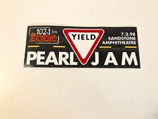 PEARL JAM bumper sticker Yield Kansas City 102.1 The Zone Sandstone Amphitheatre
