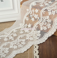 1yd Wide White Cotton Tulle Lace Floral applique Trim Wedding Veil Ribbon Sewing
