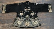 Antique Qing Dynasty Chinese Embroidered Silk Court Robe Floral Medallions