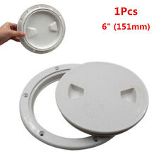 """6"""" Round White Boat Yacht Marine Out Deck Plate Inspection Access Hatch Cover x1"""