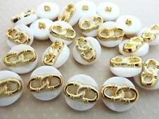 30 White/Gold Double Chain Design Shank Button/Plastic/Craft/Sew/Trim/Sewing Sb8