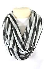 B23 Eternity Stripe Gauze Texture Black & White Infinity Scarf  Boutique