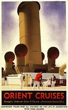 ORIENT CRUISES, Vintage Cruise Travel Poster Rolled CANVAS PRINT 24x36 in