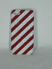 Icing Cell Phone Case  Christmas Red Stripes Glitter Bling Iphone 5 USA SELLER