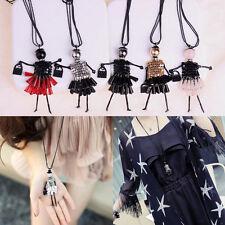 Crystal Modern Girl Doll Pendant Necklace Rhinestone Fashion Alloy Cute Charm