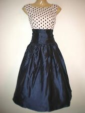 NEW VINTAGE 50'S STYLE MIDNIGHT BLUE SPOTTED ROCKABILLY PARTY DRESS SIZE 10