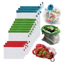 5*Reusable Produce Bags Fruit & Vegetable Grocery Fridge Mesh 12*8/14/17inch New