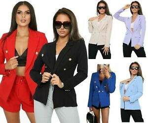 New Ladies Gold button stretch military style double breasted blazer jacket UK
