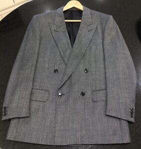 Vintage Ermenegildo Zegna Men's Dark Grey Birdseye Double Breasted Suit 50R