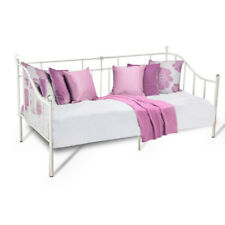 Modern 3ft Single Metal Bed Frame Day Bed Guest Bed With Crystal Finial In White