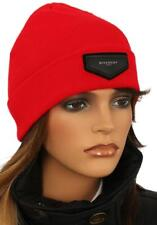 NEW GIVENCHY PARIS LUXURY RED LEATHER LOGO PATCH BEANIE HAT ONE SIZE