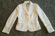 J.Crew White 1 Button Blazer Women Size 4 Cotton Silk Lined Pockets NICE!!