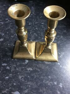 Vintage Pair Of Brass Candlesticks Square Base 6 1/2 Inch Tall  3 Inch Base