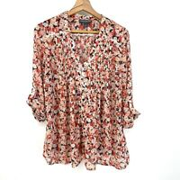 Small A Pea In The Pod Maternity Floral Button Front Roll Tab Sleeve Blouse C018