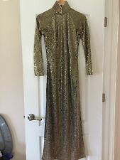 Gold Sequence Vietnamese Dress Ao Dai Size S/M