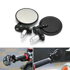 """Black Motorcycle Round 7/8"""" Bar End Rearview Side Mirrors For Bobber Cafe Racer"""