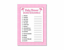 24 Baby Shower Games Girl Pink Plaid Word Scramble Cards Party