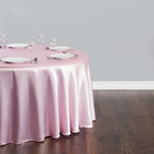 "15 PACKS 132"" inch Round SATIN Tablecloth WEDDING 25 COLOR 6' Ft table USA SALE"