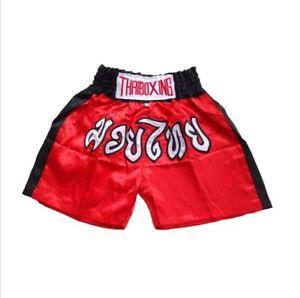 [Kids] Muay Thai Fight Boxing Shorts Grappling Martial Arts Gear Satin Fabric