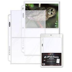 25 BCW Pro 2-Pocket 5 x 7 Photo Album Pages / 5x7 Large Postcard Binder Sheets
