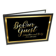 Personalised Black & Gold Be Our Guest Wedding Guest Book