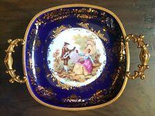 Limoges France Ormolu Hand Painted Lovers Dish Tray Trinket Brass Trim Handles