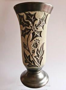 Vase Céramique Noir Granuleuse Décor Fleurs EMIL CERAMIC / VALLAURIS ANGLAISE ?